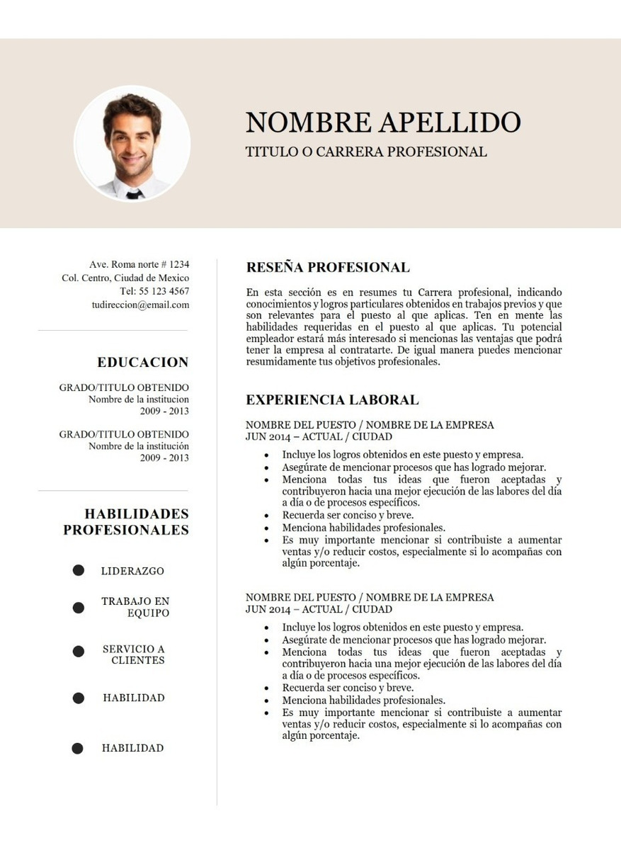 plantilla cv curriculum vitae - 2 paginas