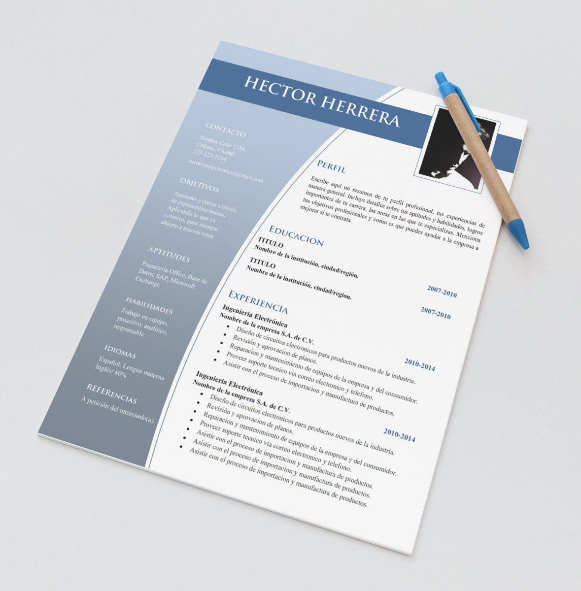 plantilla cv curriculum vitae - word resume - doc editable