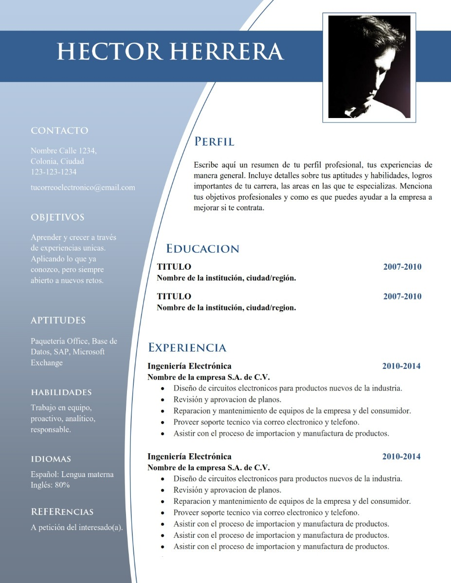 Plantilla Cv Curriculum Vitae - Word Resume - Doc Editable - $ 45.00 ...