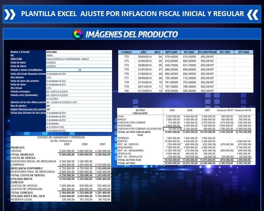 Plantilla En Excel Ajuste Por Inflacion Fiscal Regular -ini - Bs ...