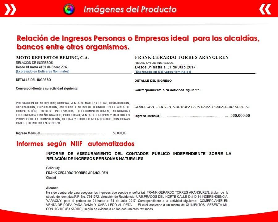 Plantilla En Excel Certificación Ingresos Balance Personas - Bs ...