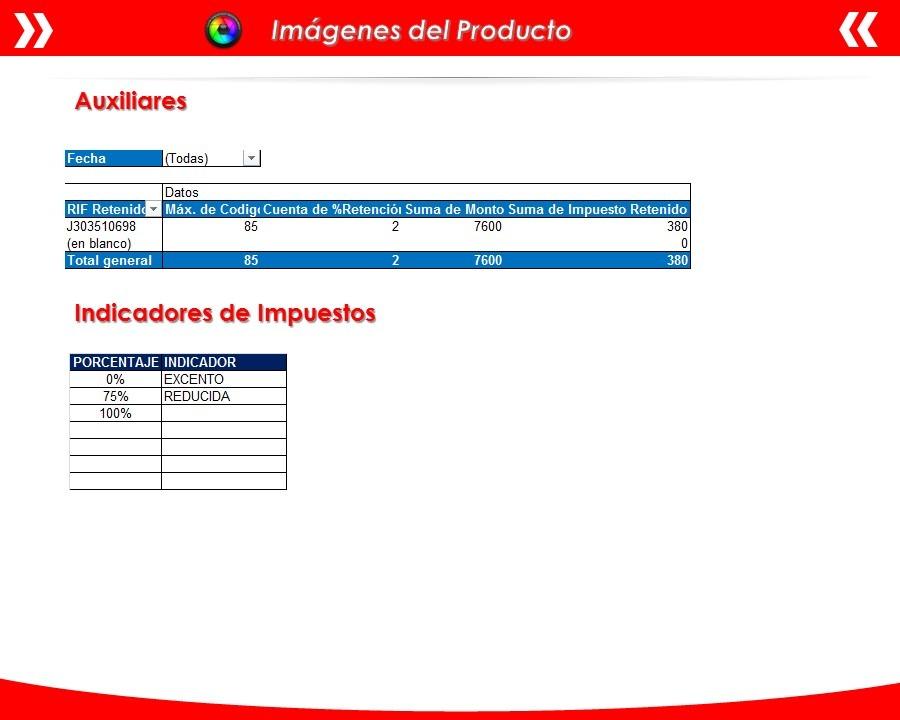 Plantilla En Excel Comprobante Retención Iva Declaración - Bs. 2.000 ...