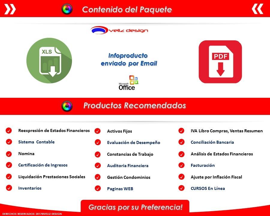 Plantilla En Excel Sistema Contable - $ 300.00 en Mercado Libre