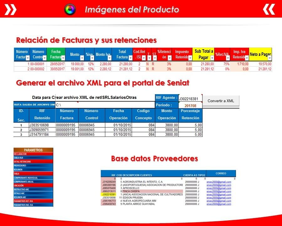 Plantilla Excel Declaración Retención Islr Mes Xml Arc 1808 - Bs ...