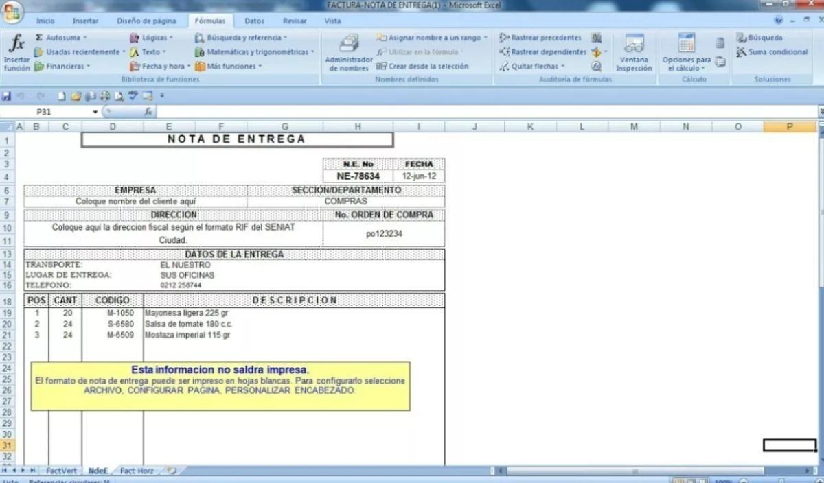 Plantilla Excel: Forma Libre - Nota De Entrega - Factura - $ 40.00 ...