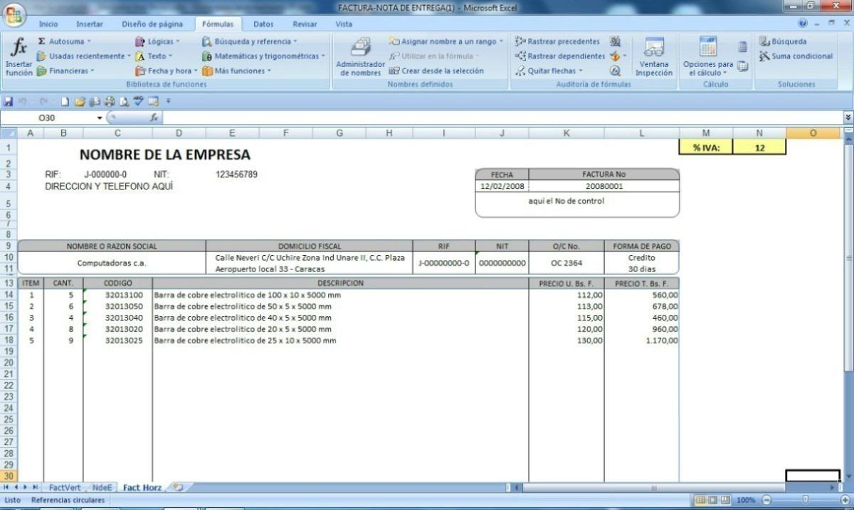 Plantilla Excel: Forma Libre - Nota De Entrega - Factura - Bs. 5.995 ...