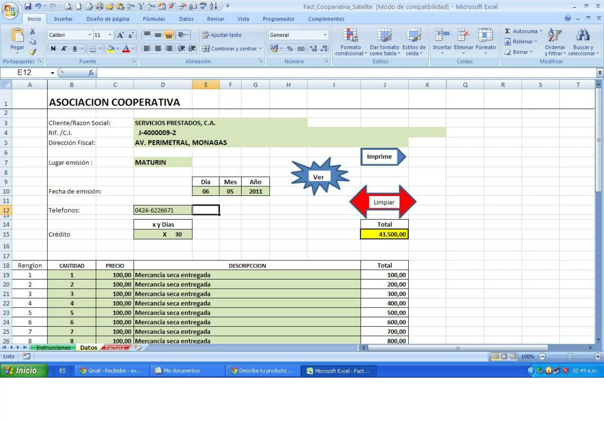 Plantilla Impresión Factura En Excel Para Pyme Automática - Bs ...