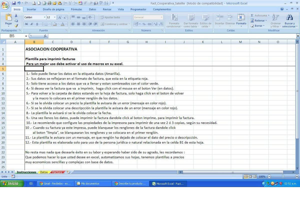 Plantilla Impresión Factura En Excel Para Pyme Automática - Bs. 269 ...