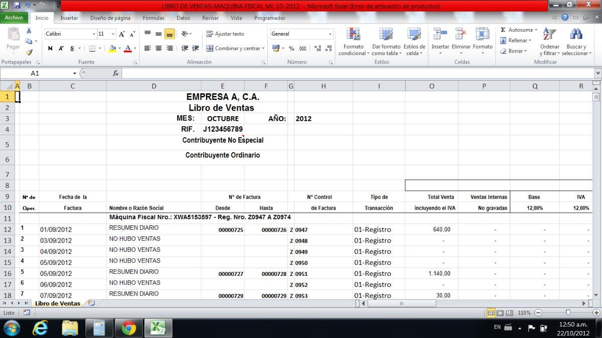Plantilla Libro De Ventas Por Cuenta De Terceros - Bs. 350.000,00 en ...