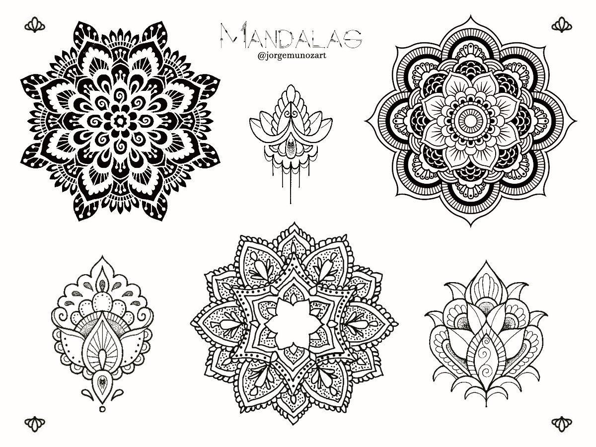Plantilla mandalas tatuajes temporales x1 hoja carta - Plantilla mandala pared ...