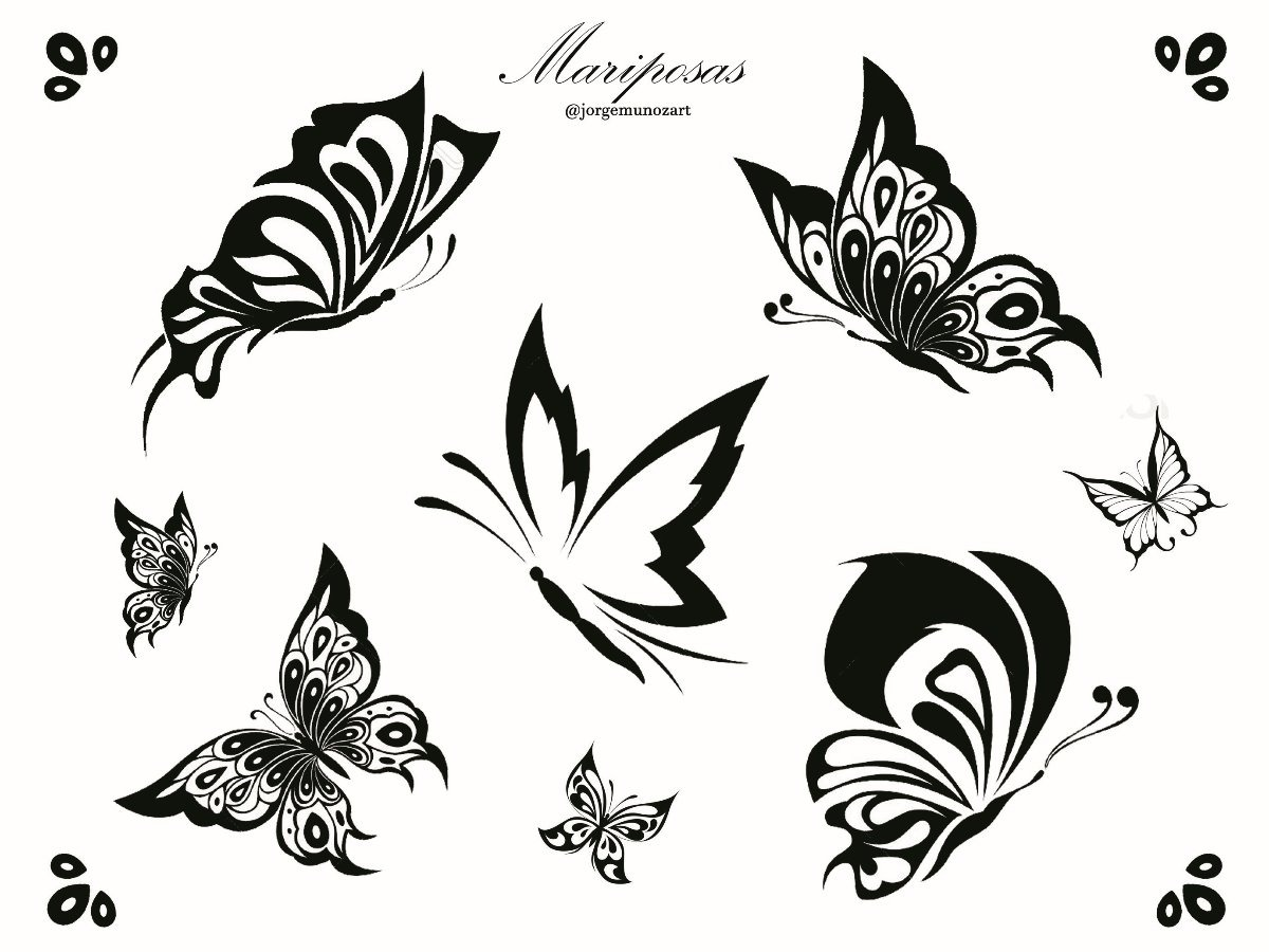 Plantilla Mariposas Tatuajes Temporales X2 Hoja Carta 37500 En