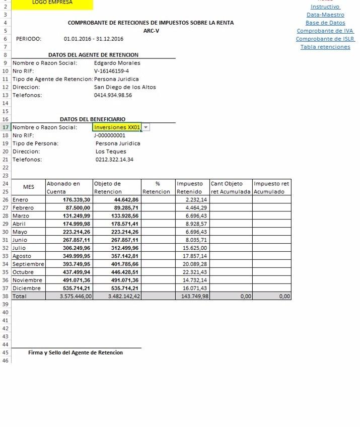 Plantilla Para Emisión De Comprobantes De Retenciones - Bs. 50.000 ...