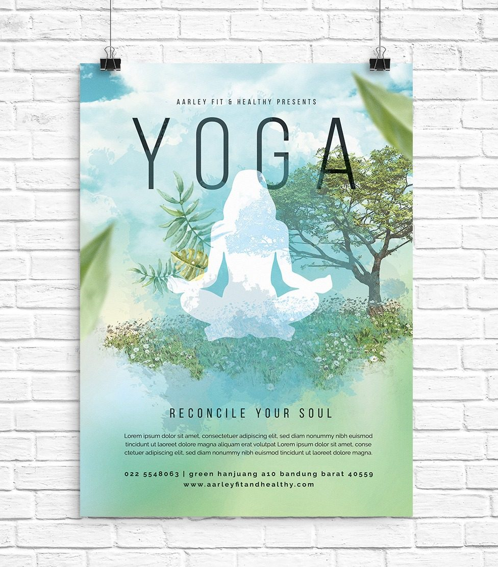 Plantilla Poster / Flyer Yoga Estudio - A4 - Photoshop - $ 24.00 en ...