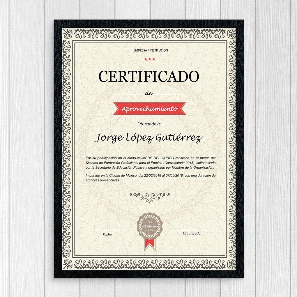 plantilla reconocimiento diploma certificado - para word