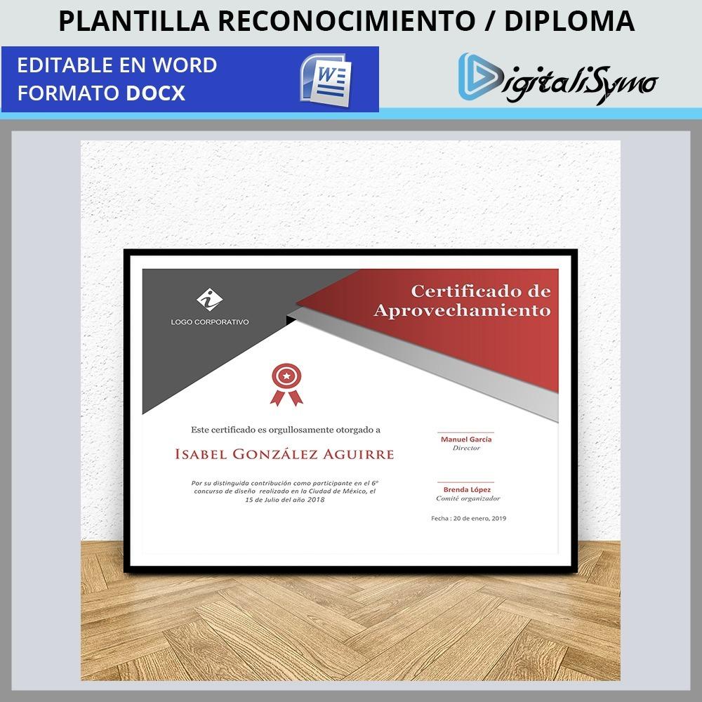 Plantilla Reconocimiento Diploma Certificado Word Docx 2900