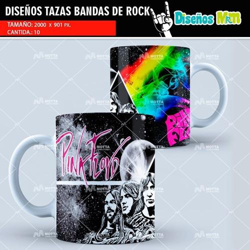 plantillas diseños psd mugs tazòn sublimacion bandas de rock