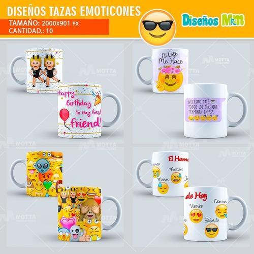 plantillas diseños psd mugs tazón sublimación emoji emoticón
