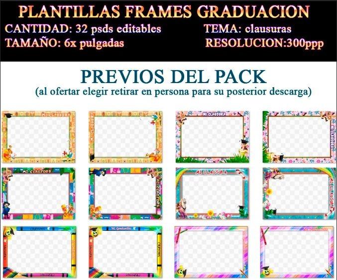 Plantillas Marcos Frames Psd Clausura Kinder Graduacion - $ 100.00 ...