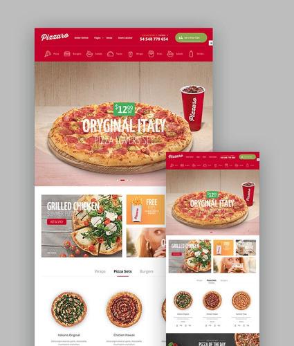 plantillas p/ pedidos de alimentos online pizzaro -wordpress