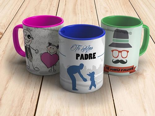 plantillas photoshop sublimar tazas diseños dia del padre