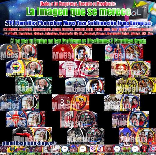 plantillas photoshop sublimar tazas equipos ligas europeas