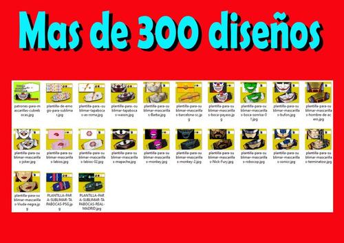 plantillas p/tapabocas con mas 300 diseños