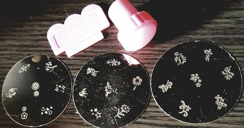 plantillas uñas +sello+espatula 7 figuras manicura esmalte