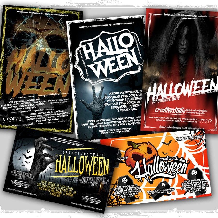 Plantillas Volantes Halloween P Photoshop Cs Y Corel Draw - $ 139.00 ...