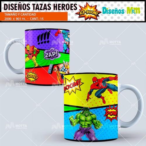 plantillas y diseños photoshop tazones superhéroes comics