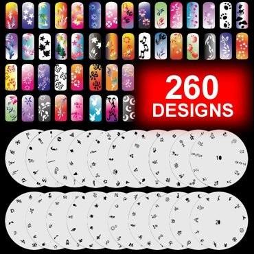 plantillas y set de 12 pinturas para airbrush nail sobrepedi