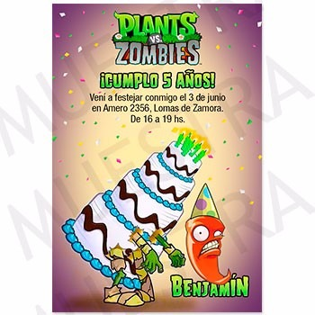 Plants Vs Zombies 15 Tarjetas Cumple Invitación Digital