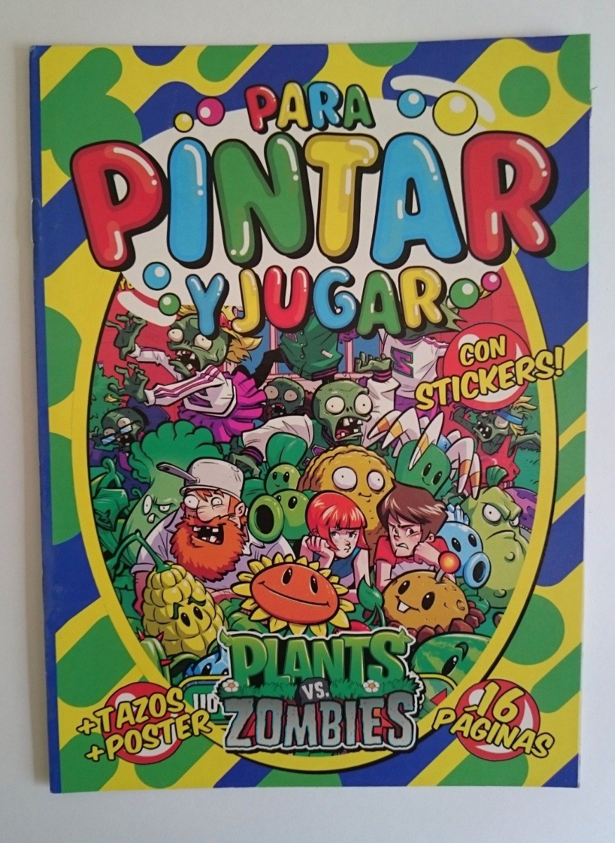 Plants Zombies Libro Librito Para Pintar Colorear Stickers