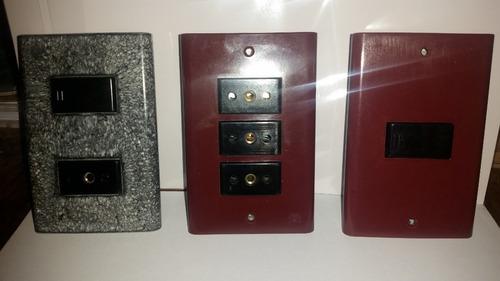plaqueta c/ interruptor llave luz, tomas pack 10 unidades