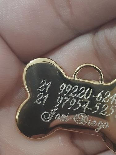 plaquinha ossinho para pet gravado nome e telefone