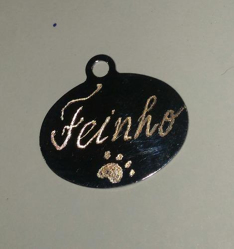 plaquinha pet gravada aço inox cachorro gato + corrente