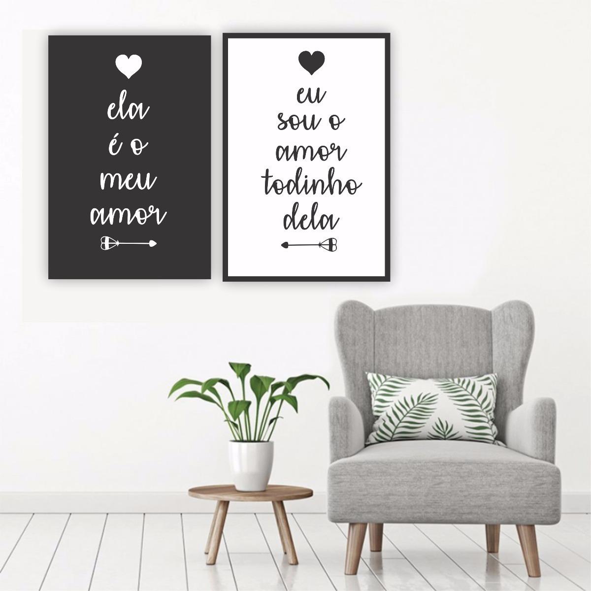 Plaquinha placa quadro mdf casal quarto ela o meu amor for Quadros dormitorio