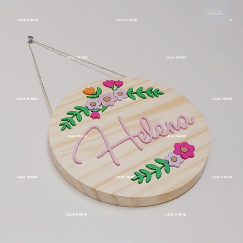 plaquinha porta maternidade nome e flores