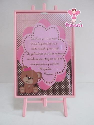 plaquinha ursinha marrom e rosa aniversário festa infantil
