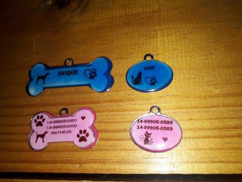 plaquinhas de identificação para  pets frente e verso