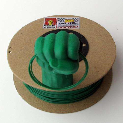 plast.ar - filamento impresión 3d - abs/verde/ø1,75/750grs.