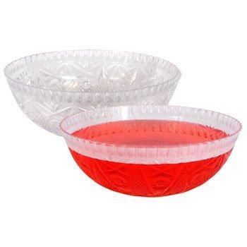 plástico cristalino redondo-cut tazón de ensalada, punch o