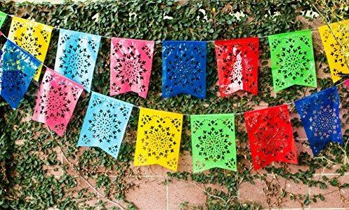 plastico mexicano cola de pescado papel picado banner &quot