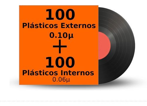 plastico vinil lp 200 - 100 externo 0,10 + 100 internos