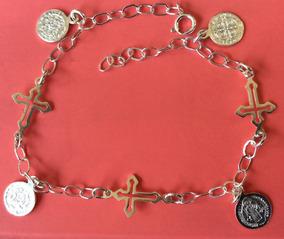 ab29f90b5980 Plata 925 Pulsera De Medalla De San Benito Y Cruz Protección