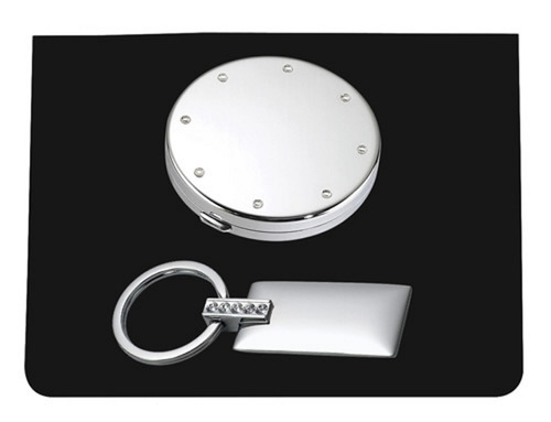 plata compacto caso y clave cadena set