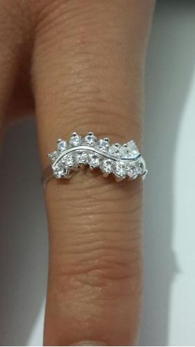 plata cristales anillo