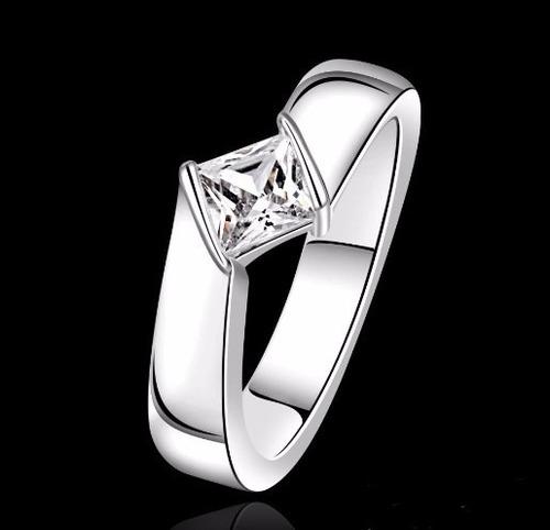 plata diamante anillo