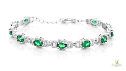 plata esterlina 925 ovalada verde esmeralda simulada pulsera