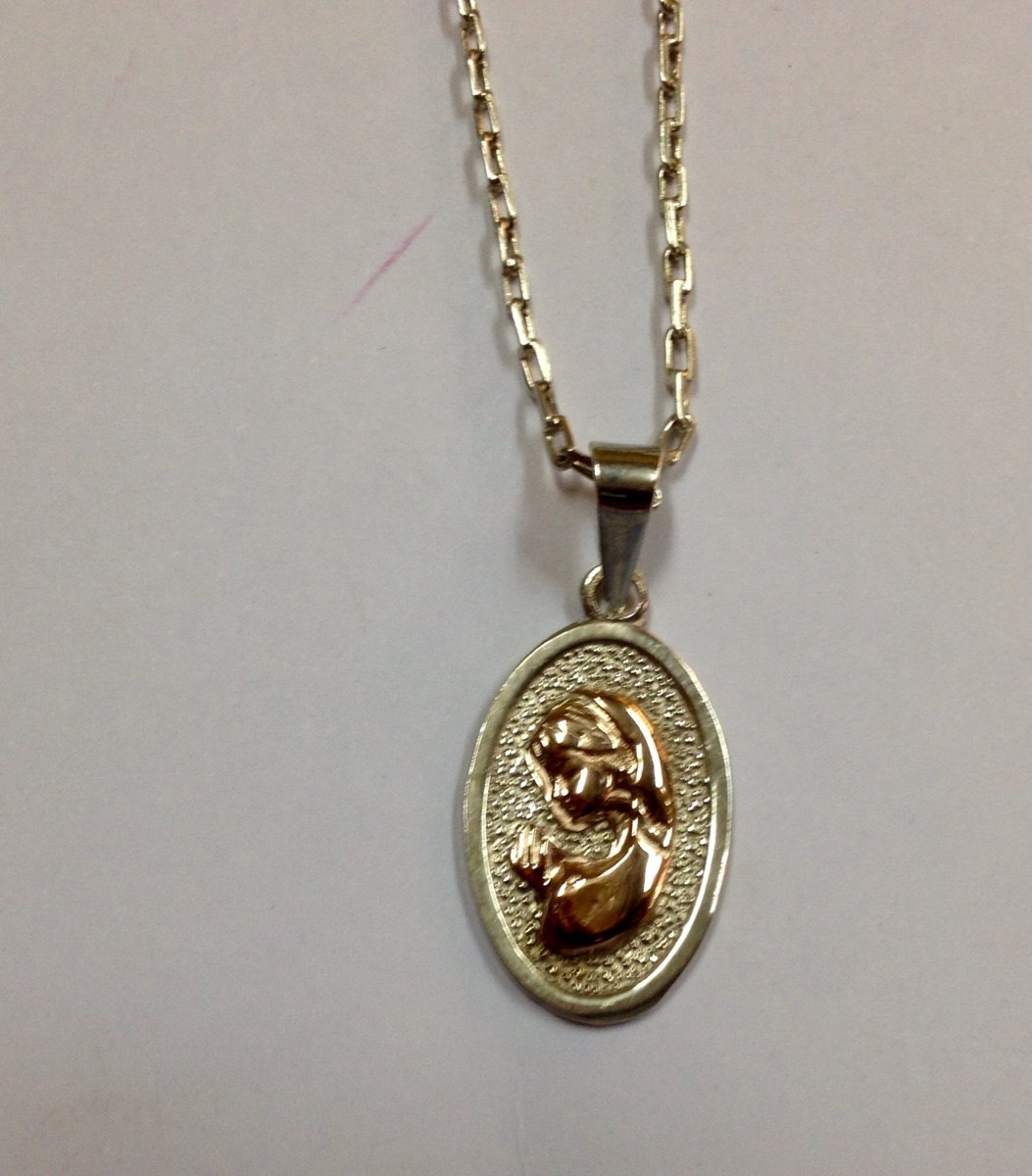 e3a388334025 Conjunto Cadena De Plata Fina Medalla Virgen Niña Plata Oro ...