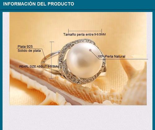 plata perla anillo